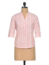 Pink & White Cotton Striped Mandarin Collar Shirt - Meira