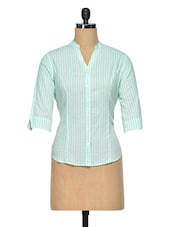 Aqua Blue Pin Striped Cotton Shirt - Meira