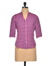 Pink & Navy Blue Cotton Check Shirt - Meira