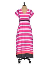 Pink & White Striped Poly Crepe Maxi Dress - Meira
