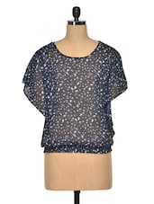 Navy Blue Poly Georgette Sheer Kaftan Top - Meira