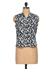 Black & White Printed Poly Crepe Sleeveless Top - Meira