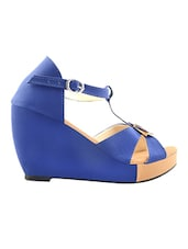 Leatherette Blue Buckle Lace Open Toe Wedges - Yepme