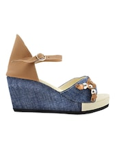 Leatherette Blue & Beige Buckle Lace Open Toe Wedges - Yepme