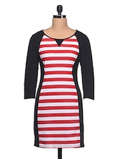 Black Polyknit Dress With Red & White Strips - KAXIAA