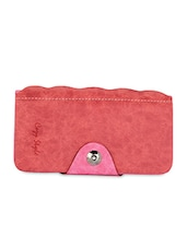 Pink Leatherette Wallet And Cardholder - By