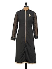Black Poly Georgette Front Zip With Brooch Kurta - GREEN EMERALD