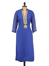 Royal Blue Zari Embroidered & Beaded Poly Georgette Kurta