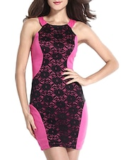 Pink Polyester Blend Plain Dress - By