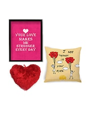 Multicolor Velvet Cushion With Cushion Cover And Wall Art Combo - By