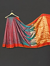Multi Color Paisley Zari Work Art Silk Saree - WEAVING ROOTS