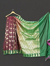 Multi Color Paisley & Geometric Zari Work Art Silk Saree