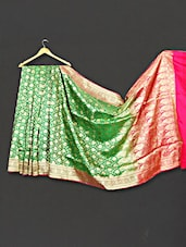 Multi Color Paisley & Floral Zari Work Satan Silk Saree - WEAVING ROOTS
