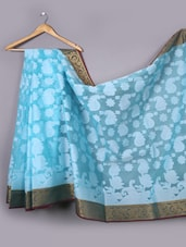 Contrast Pallu Sky Blue Woven Saree - WEAVING ROOTS