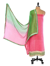 Pink  Chanderi Cotton Straight Cut Suit. - Viva N Diva
