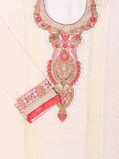 White Chiffon Straight Cut Salwar Suit. - Viva N Diva