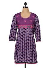 Purple Cotton Printed With Embroidered Yoke Kurta - ETHNIC
