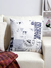 White Printed Cushion Cover - By
