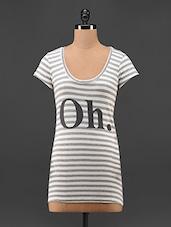 Striped Printed Cotton T-Shirt - Feyona