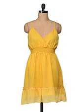 Yellow Ploy Chiffon Sleeveless Dress - Feyona