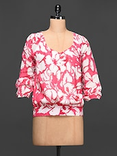 Floral Print Georgette Top - Rose Vanessa