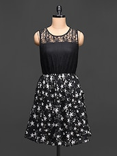 Star Print Black Lace Dress - Rose Vanessa
