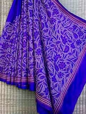 Luxe Royal Blue Embroidered Bangalore Silk Saree - FARAH KHAN