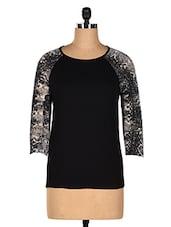 Black Printed Sleeves Top - CHERYMOYA