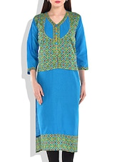 Blue Cotton Kurta With Printed Jacket - By