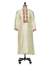 Elegant Off-white Silk  Embroidered Kurti - Golden Peacok