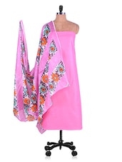 Pink Solid Suit With Floral Print Dupatta & Churidar - Radharani