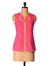 Pink Solid Polyester Top With Yellow Piping - Tops And Tunics