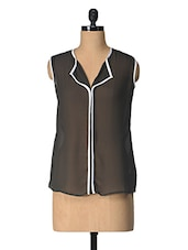 Black Solid Polyester Top With White Piping - Tops And Tunics