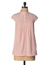 Peach Solid Cotton Top - Tops And Tunics