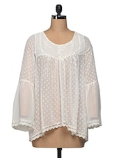 Ecru Sheer Embroidered Polyester Top - I AM FOR YOU