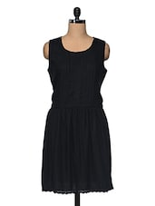 Black Pleated Viscose Dress - I AM FOR YOU