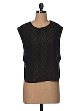 Black Sheer Embroidered Viscose Top - I AM FOR YOU
