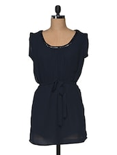 Navy Blue Beaded Cotton Dress - I AM FOR YOU