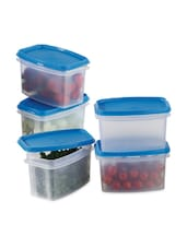 Blue Plastic Air Tight Container Set Of 5 - Prime Housewares