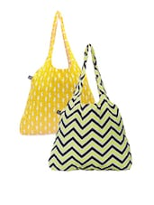 Chevron And Sea Horse Printed Set Of Hand Bags - Be... For Bag