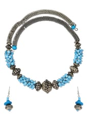Blue & Silver Neckpiece & Earrings Set - Art Mannia