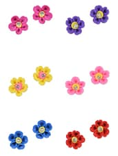 Multicoloured Floral Earrings Combo - Art Mannia