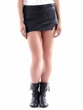 Black Leather Mini Skirt - By