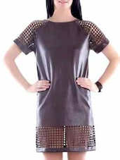 Brown Faux Leather Laser Cut Dress - Fuziv