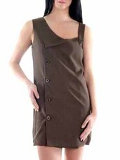 Brown Polyester Dress - Fuziv