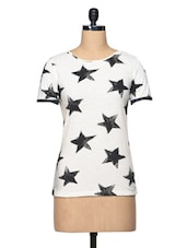 Star Printed Cream Short Sleeve Cotton Jersey Top - BLUEBERY D C