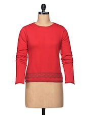 Plain Red Long Sleeve Cotton Jersey Top With Lace - BLUEBERY D C
