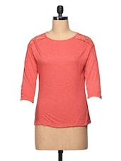 Coral Three Quarter Sleeve Top With Lace Yoke - BLUEBERY D C