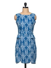 Ikat Print Boat Neck Panelled Peplum Dress - BLUEBERY D C