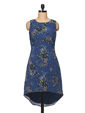 Printed Round Neck Sleeveless Asymmetrical Georgette Dress - BLUEBERY D C